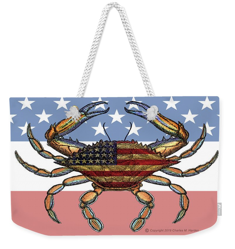 Patriotic Crab On American Flag - Weekender Tote Bag