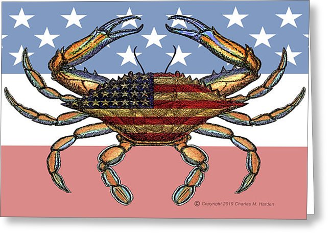 Patriotic Crab On American Flag - Greeting Card