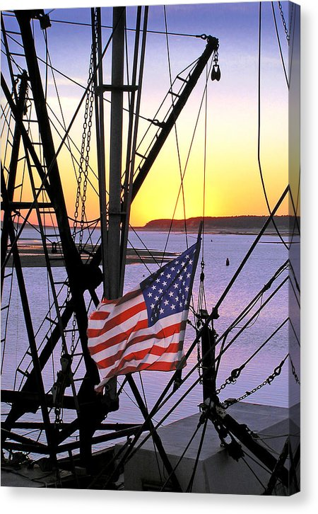 Patriotic Fisherman - Canvas Print