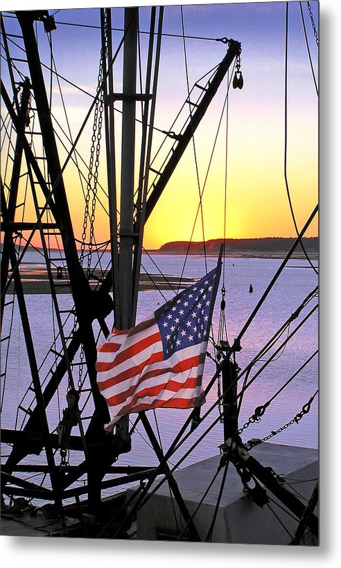 Patriotic Fisherman - Metal Print