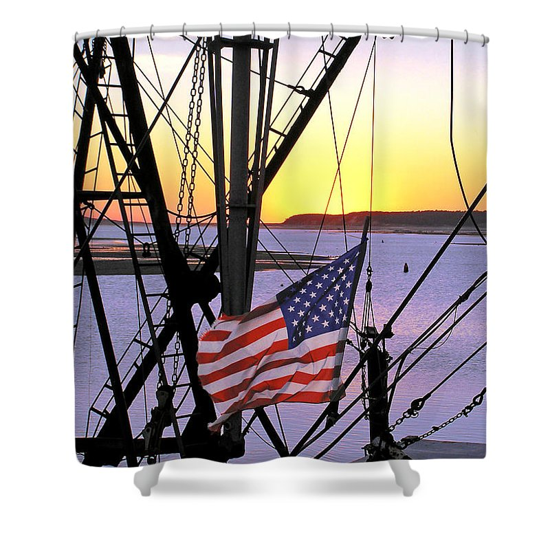Patriotic Fisherman - Shower Curtain