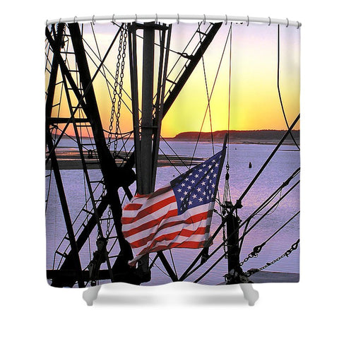 Vintage Century Boat Speed Shift - Shower Curtain