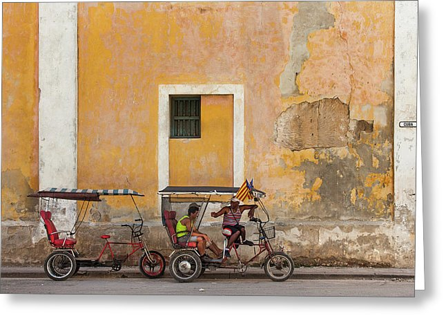 Pedicabs At Convento De Santa Clara Havana Cuba - Greeting Card