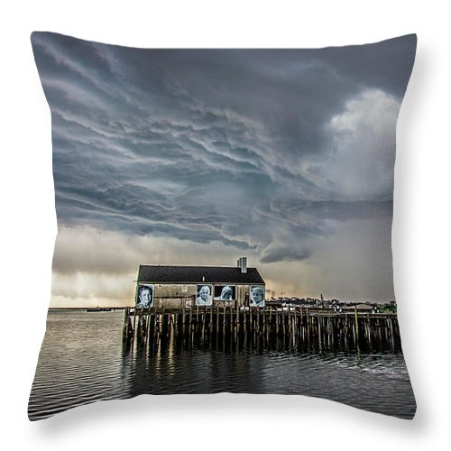 Provincetown Storm, Cabrals Wharf - Throw Pillow