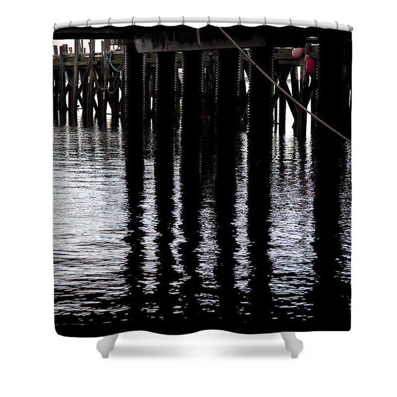 Provincetown Wharf Reflections - Shower Curtain