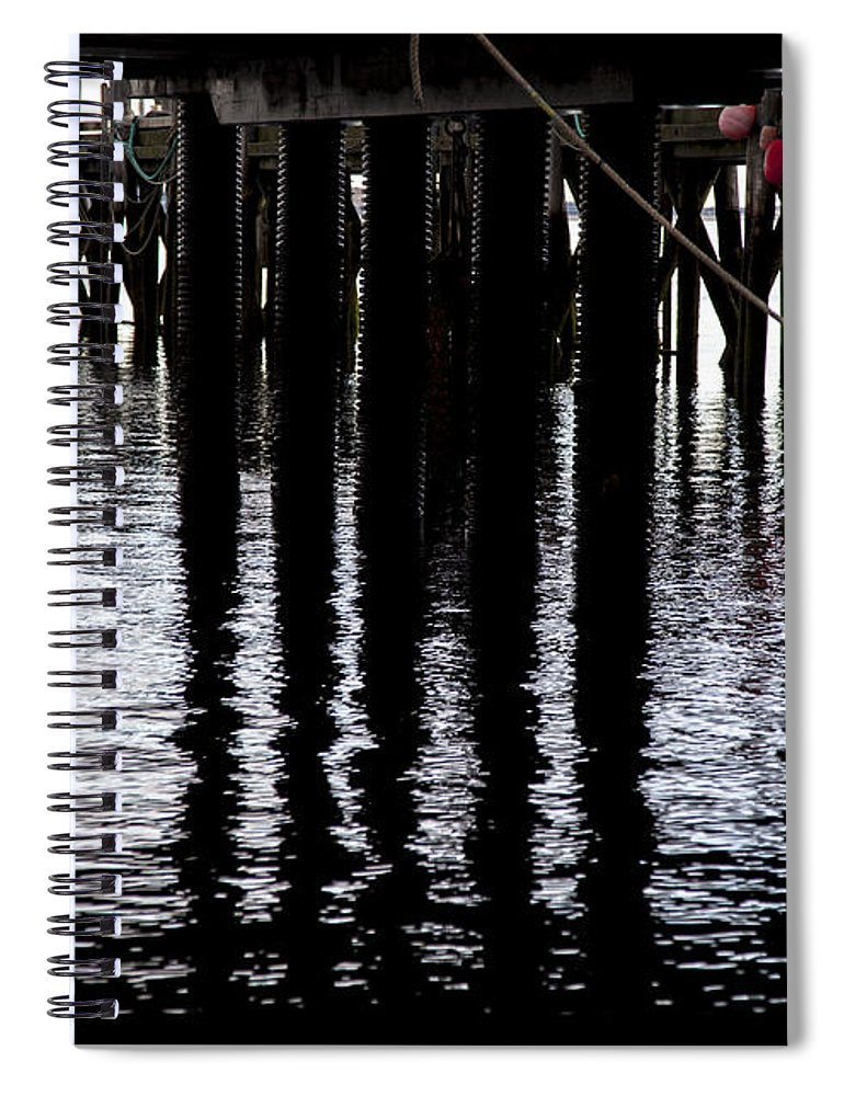 Provincetown Wharf Reflections - Spiral Notebook