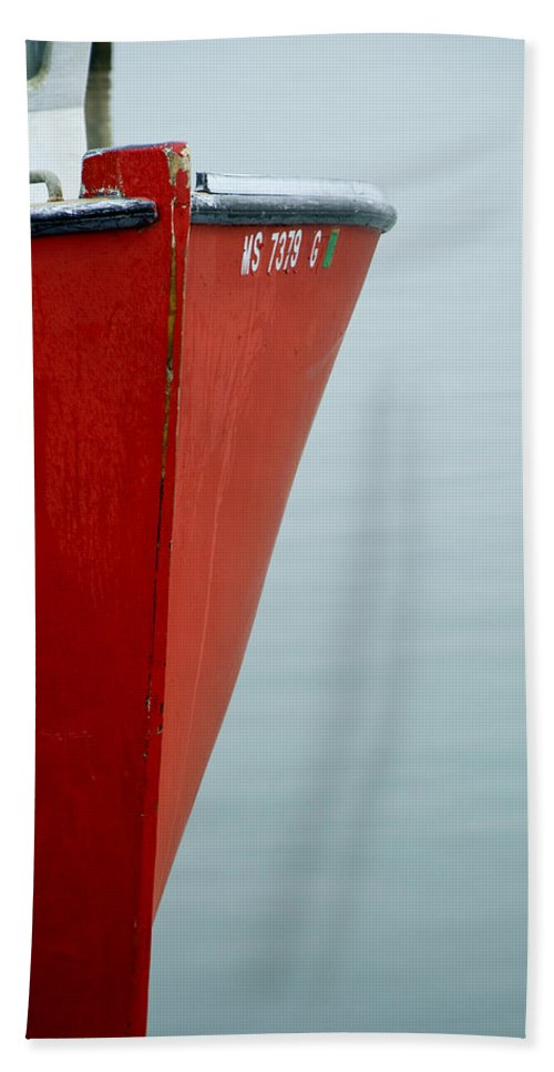 Red Fishing Boat - Beach Towel
