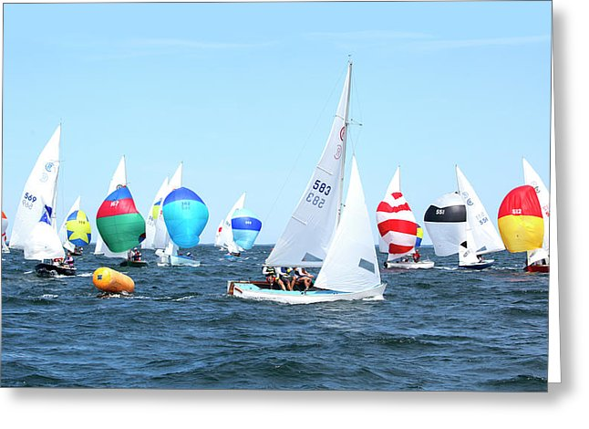 Rhodes Nationals Sailing Race Dennis Cape Cod - Greeting Card