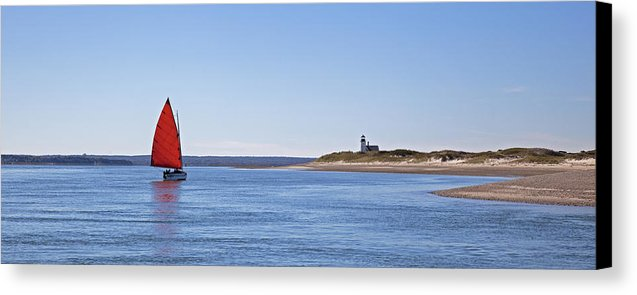Ripple Catboat With Red Sail And Lighthouse - Canvas Print