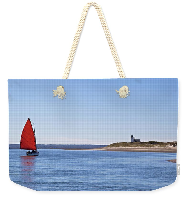 Ripple Catboat With Red Sail And Lighthouse - Weekender Tote Bag