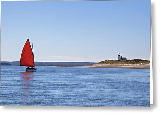 Ripple Catboat With Red Sail And Lighthouse - Greeting Card
