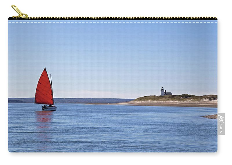 Ripple Catboat With Red Sail And Lighthouse - Carry-All Pouch