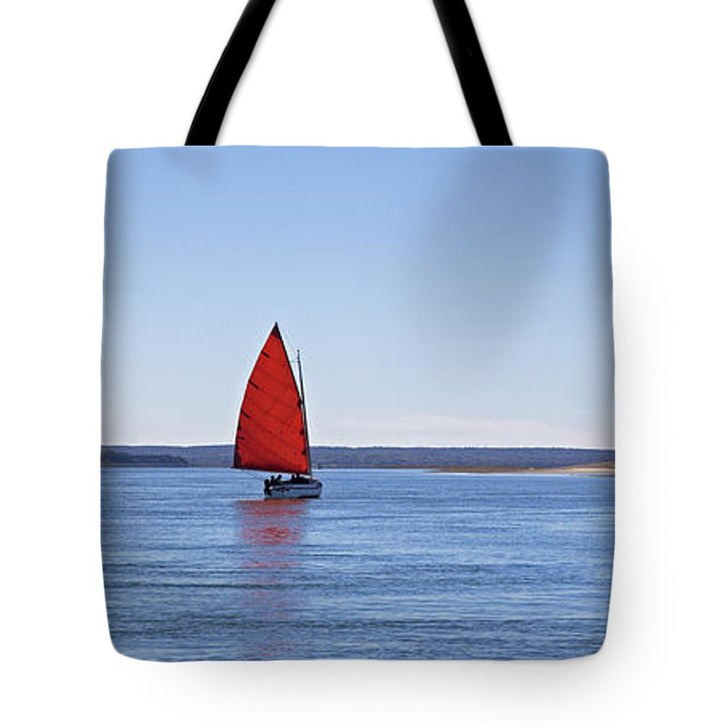 Ripple Catboat With Red Sail And Lighthouse - Tote Bag