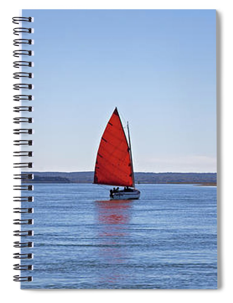 Ripple Catboat With Red Sail And Lighthouse - Spiral Notebook
