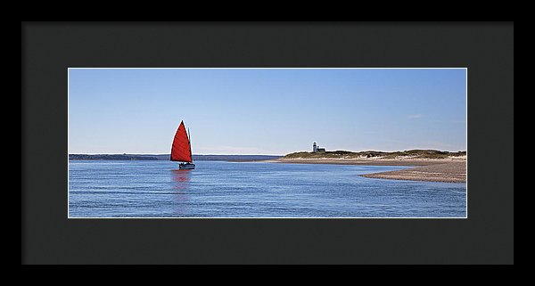 Ripple Catboat With Red Sail And Lighthouse - Framed Print