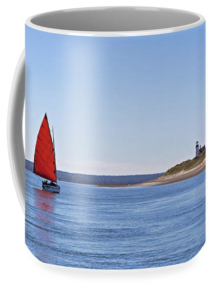 Ripple Catboat With Red Sail And Lighthouse - Mug