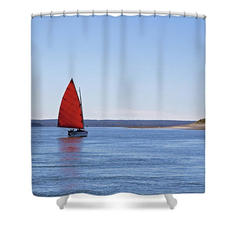 Ripple Catboat With Red Sail And Lighthouse - Shower Curtain