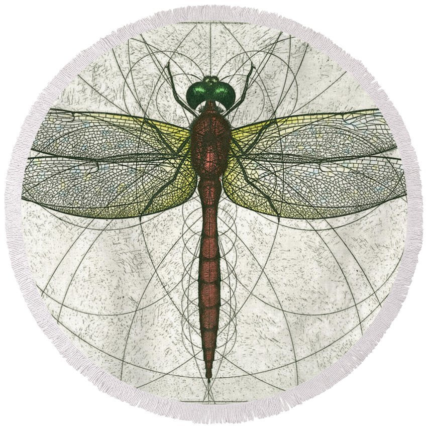 Ruby Meadowhawk Dragonfly - Round Beach Towel