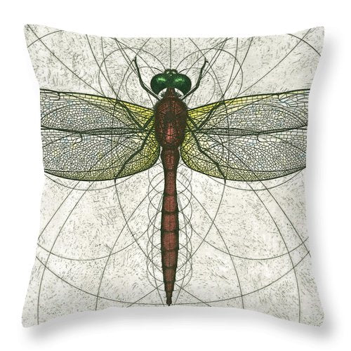 Ruby Meadowhawk Dragonfly - Throw Pillow
