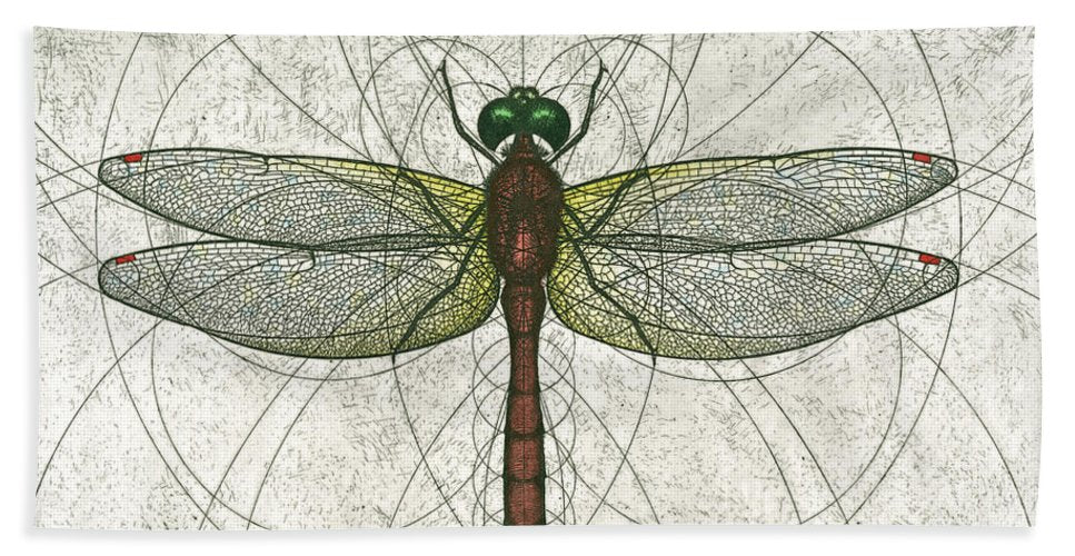 Ruby Meadowhawk Dragonfly - Beach Towel