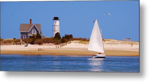 Sailing Around Sandy Neck Lighthouse - Metal Print