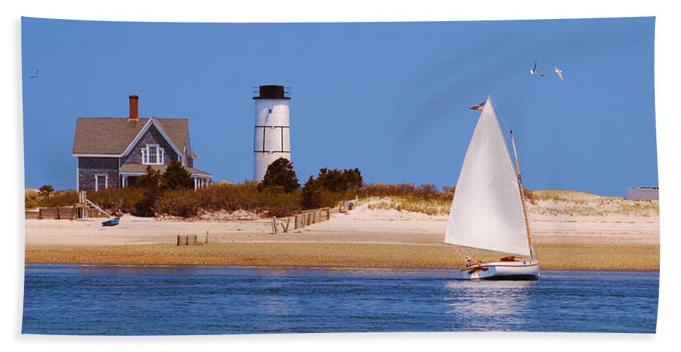 Sailing Around Sandy Neck Lighthouse - Beach Towel