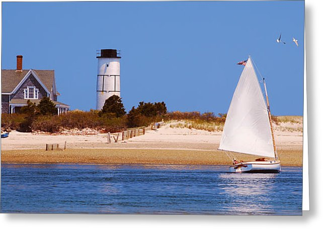 Sailing Around Sandy Neck Lighthouse - Greeting Card
