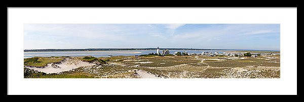 Sandy Neck Lighthouse With Fishing Boat - Framed Print