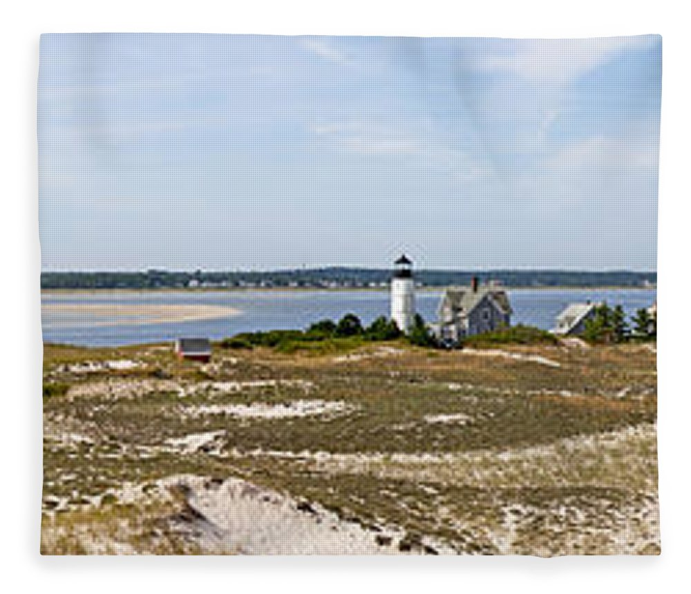 Sandy Neck Lighthouse With Fishing Boat - Blanket
