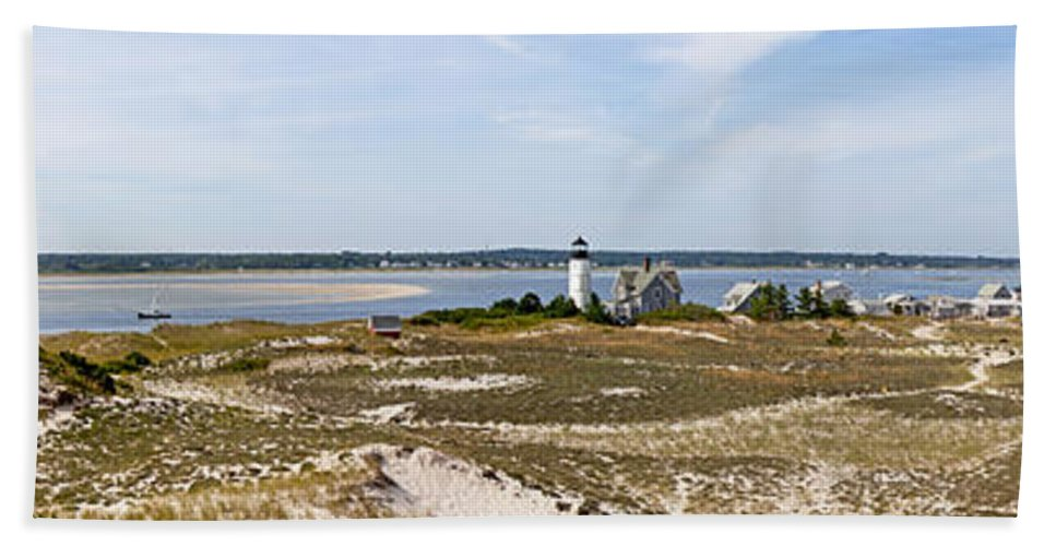 Sandy Neck Lighthouse With Fishing Boat - Beach Towel