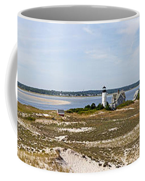 Sandy Neck Lighthouse With Fishing Boat - Mug