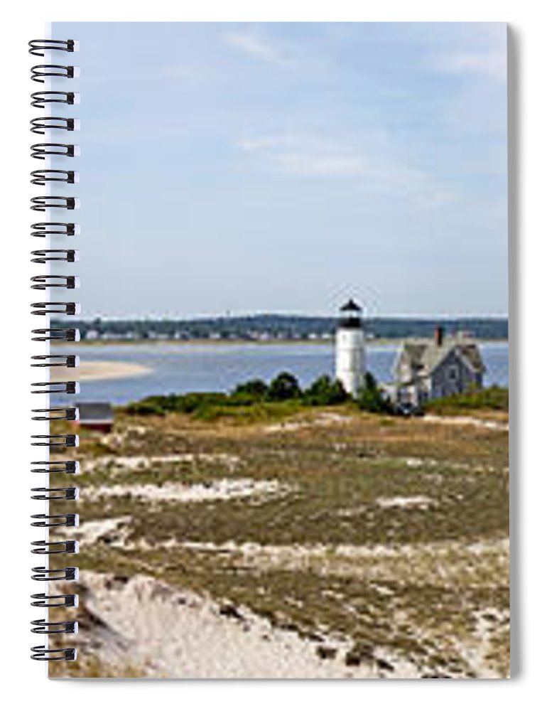 Sandy Neck Lighthouse With Fishing Boat - Spiral Notebook