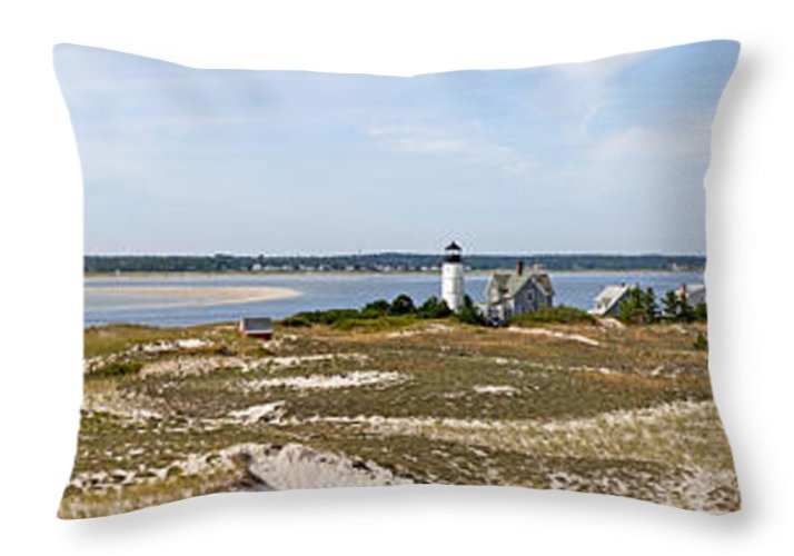 Sandy Neck Lighthouse With Fishing Boat - Throw Pillow