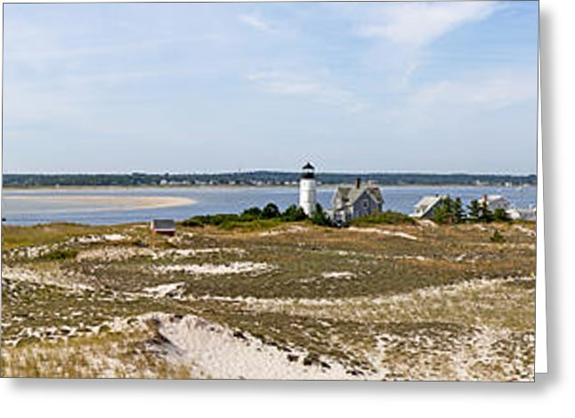 Sandy Neck Lighthouse With Fishing Boat - Greeting Card