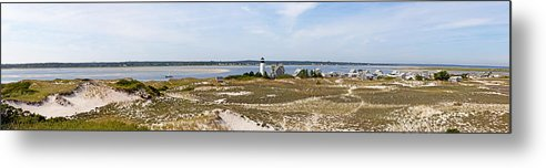 Sandy Neck Lighthouse With Fishing Boat - Metal Print