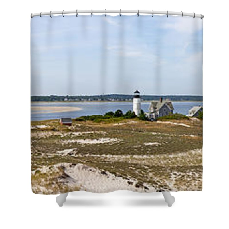 Sandy Neck Lighthouse With Fishing Boat - Shower Curtain
