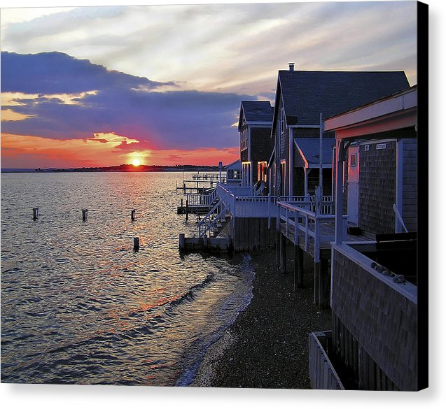 Sandy Neck Sunset At The Cottages - Canvas Print