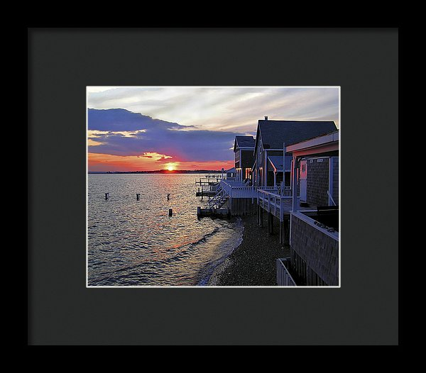 Sandy Neck Sunset At The Cottages - Framed Print