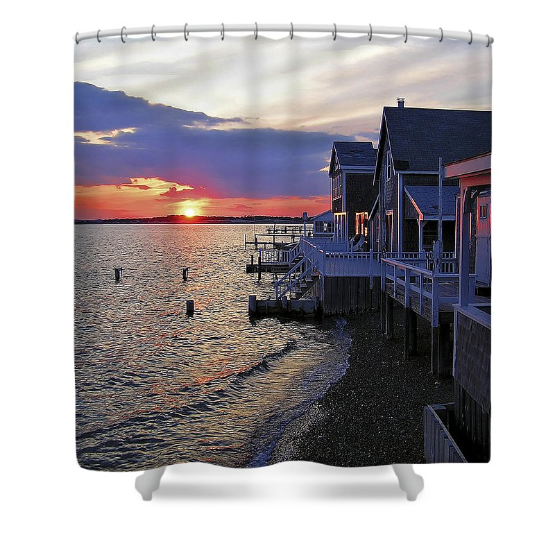 Sandy Neck Sunset At The Cottages - Shower Curtain