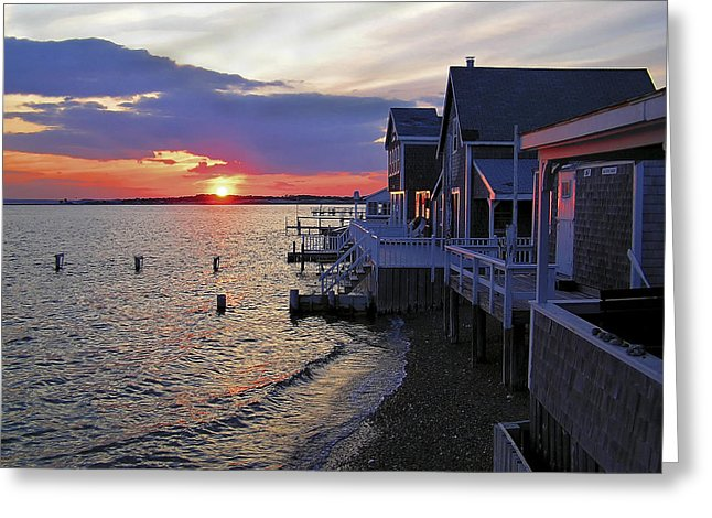 Sandy Neck Sunset At The Cottages - Greeting Card