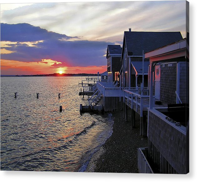 Sandy Neck Sunset At The Cottages - Acrylic Print