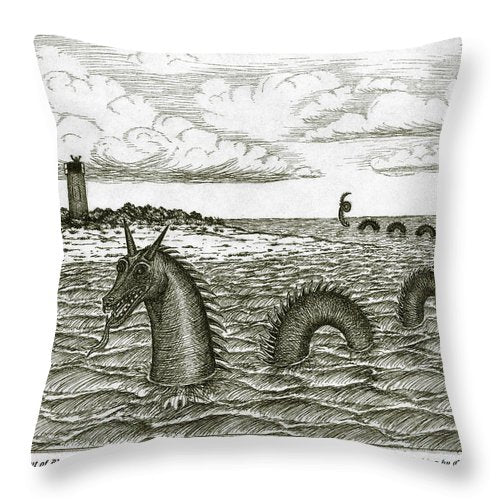 Sea Serpent Of Barnstable Harbor - Throw Pillow
