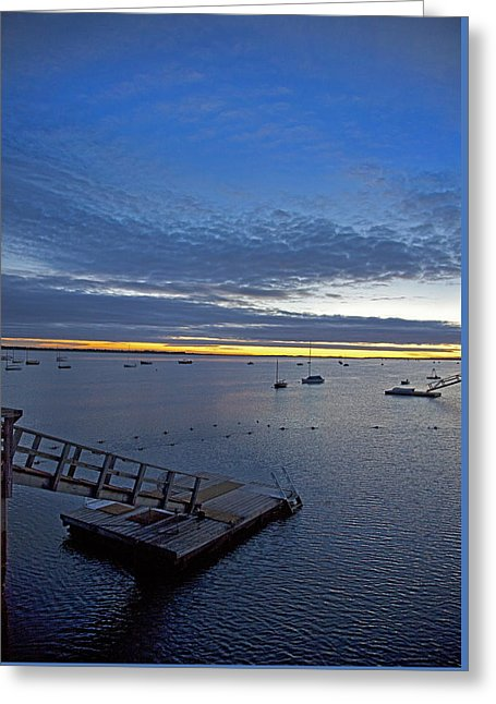 Sunrise At The Barnstable Yacht Club - Greeting Card