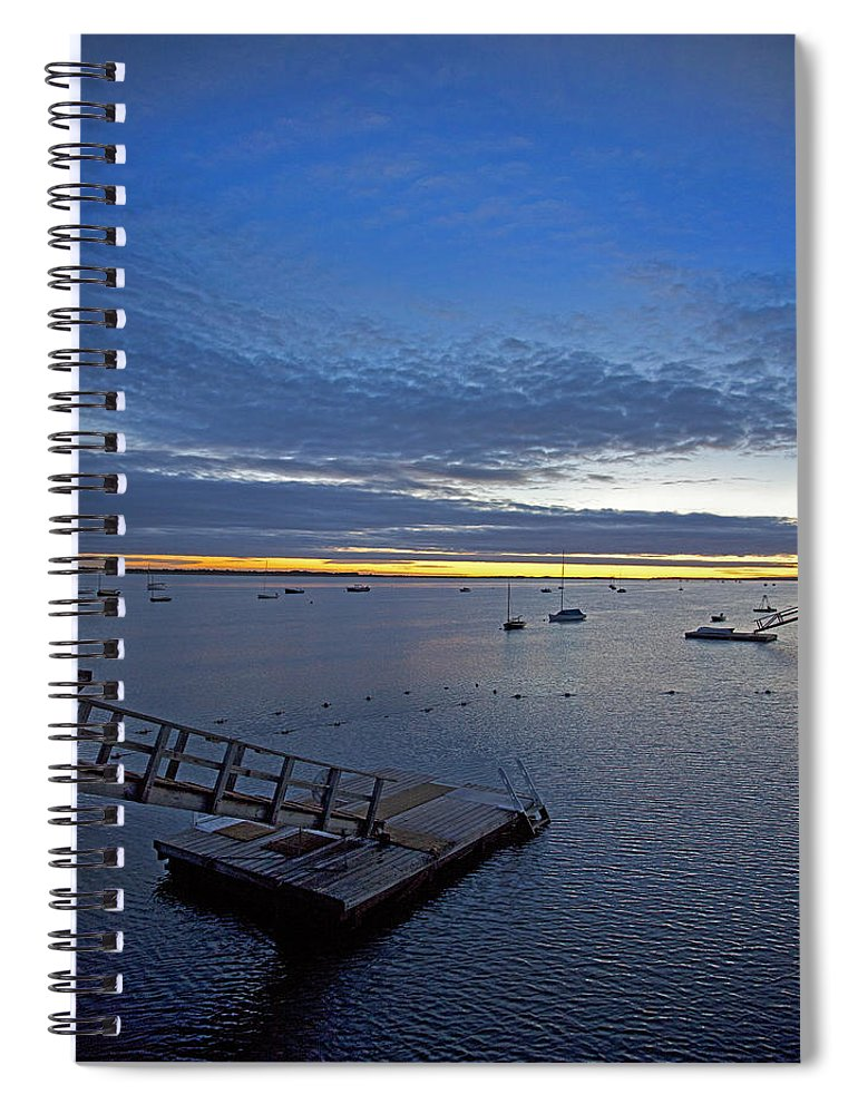 Sunrise At The Barnstable Yacht Club - Spiral Notebook