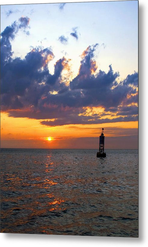 Sunset At The Bell Buoy - Metal Print