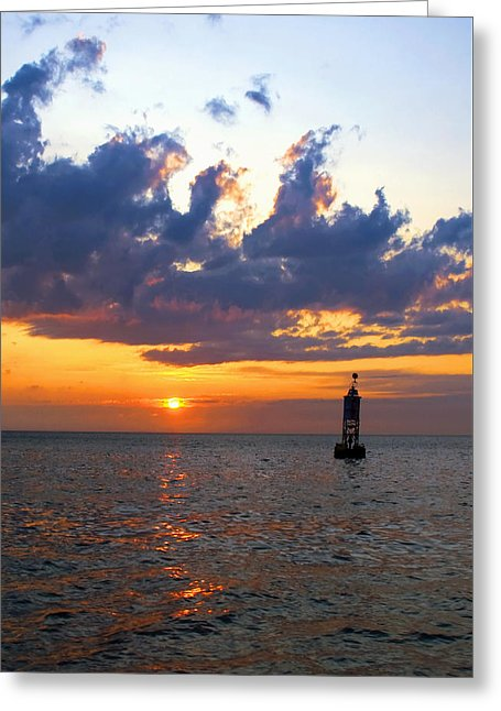 Sunset At The Bell Buoy - Greeting Card
