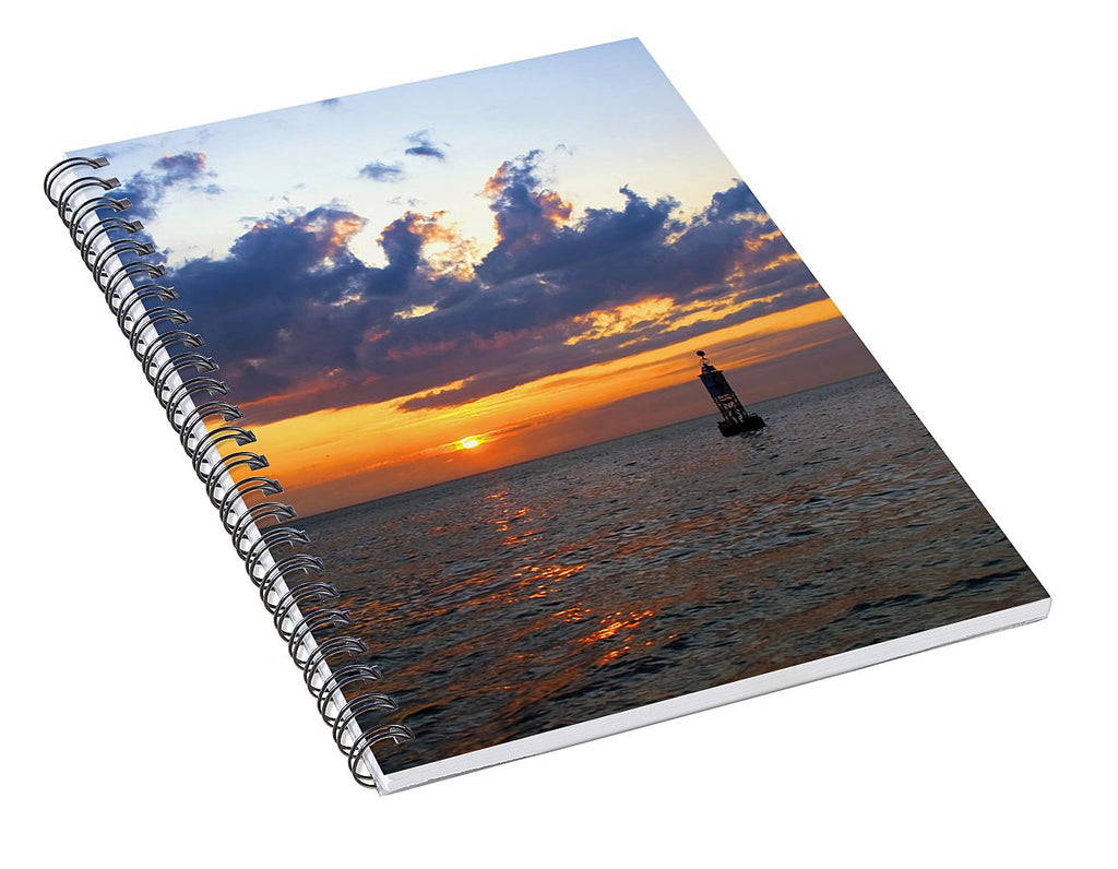 Sunset At The Bell Buoy - Spiral Notebook