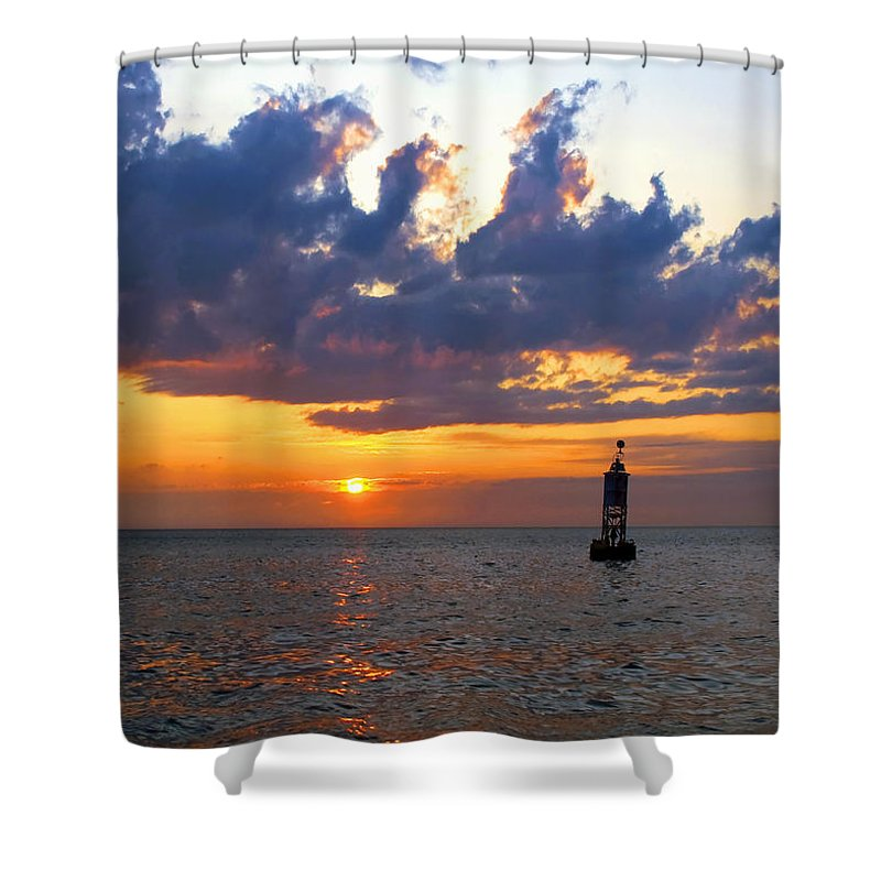 Sunset At The Bell Buoy - Shower Curtain