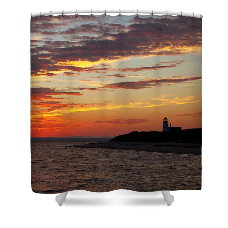 Sunset Over Sandy Neck Lighthouse - Shower Curtain
