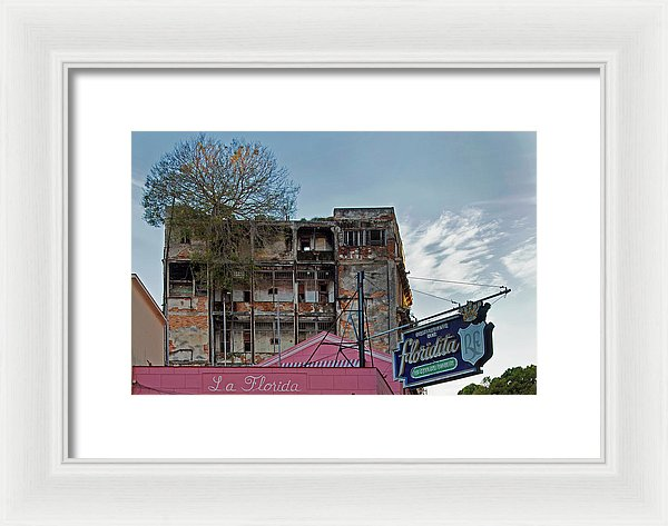 Tree In Building Over La Floridita Havana Cuba - Framed Print